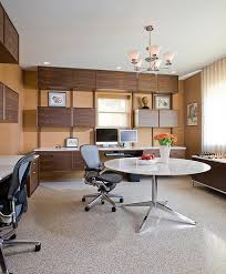 home office modern. 14-Custom-floating-cabinets-and-desks-along-with-Midcentury-modern -decor-for-basement-home-office Home Office Modern