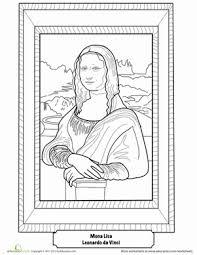 Mona Lisa Coloring Page Kids World Art Classroom Art Handouts