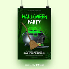 Green Party Flyer Green Light With Witchcraft Halloween Party Flyer Vector