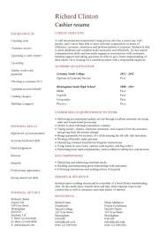 Entry level cashier resume template