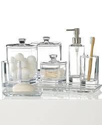 clear sea glass bathroom accessories with transpa look