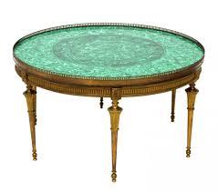 Elegant Vintage Malachite Brass Coffee Table Round