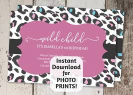 Printable Wild Child Leopard Invitation Template 1st First Etsy
