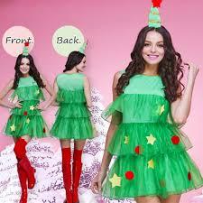 Christmas Tree Woman Dress Fashion Girl In Lighting Xmas Gown Girls Christmas Tree Dress