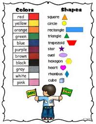 Left Right Chart Color Words Shape Names And Left Right Chart Shape Names