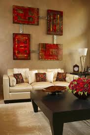 orange decorations for living room. the living room wall color is brown and there a small excerpt blue mesmerizing white red orange decorations for e
