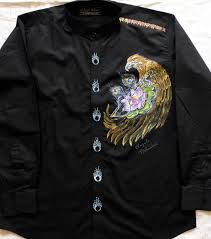 hand painted black shirt eagle and lotus