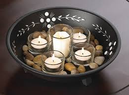 glass bowl with candles