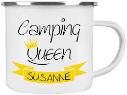 Emaille Tasse Camping Queen Personalisiert Mit