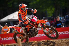 2018 ktm contingency. modren ktm mx2 rider cole thompson looked really comfortable on the new quebec track  as he set fastest time in qualification got off first gate drop  throughout 2018 ktm contingency