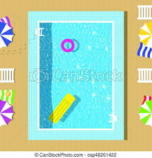 Vector swimming pool top view with reflection of clear vector