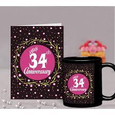 34th wedding anniversary gift printed coffee mug with greeting card