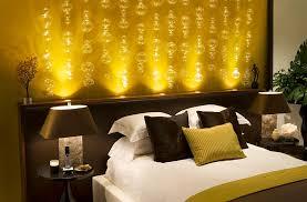 lighting idea. Bedrooms:Bedroom Lighting Idea With Headboard Hidden Lamps On White Bed  Also Cone Table Lamp Lighting Idea