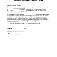 Teacher Recommendation Template Free Teacher Recommendation Letter Template With Samples Pdf