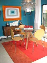 contemporary dining room rugs modern round dining table room with area rug blue image by