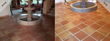 picture of a recent scottsdale saltilla tile floor cleaning project by desert tile