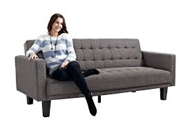 Amazon.com: DHP Sienna Sofa Sleeper, Tufted Linen Upholstery with Tapered  Wooden Legs, Gray: Kitchen & Dining