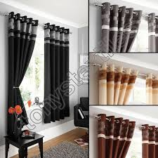 fully lined pair eyelet ring top ready made curtains black silver cream brown
