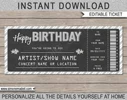 Printable Concert Ticket Template Gorgeous Printable Concert Ticket Gift Gift Voucher Certificate Etsy