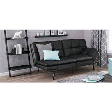 details about leather futon couch sleeper sofa loveseat convertible sectional bed chair black
