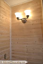 wood planked walls in a bathroom and