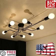 8 socket chandelier home fixture industrial flush mount ceiling light vintage qc