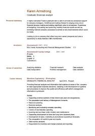 Curriculum Vitae Template Graduate Financial Analyst Cv Example