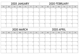 January March 2020 Calendar Template Free Download 12