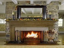 decoration mirror above fireplace mantle decorating the