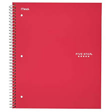 five star spiral notebook 5 subject college ruled paper 200 sheets 11