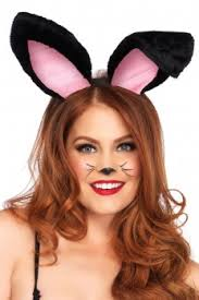 y black plush bunny ears