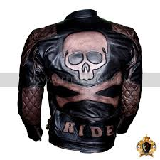 men s skull embossed biker leather jacket vintage distressed black