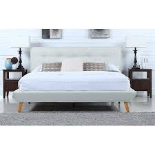 Mid-Century Ivory Linen Low Profile Platform Bed Frame with Tufted Headboard Design (King)