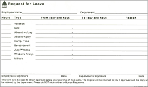 Time Off Request Form Sample With Time Off Request Email Template