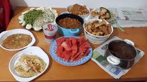 Masak sendiri di rumah babab.net. Menu Bukber Masak Sendiri Nasgo Gado Ayam Goreng Tepung Telur Udang Dan Semangka Kulineria