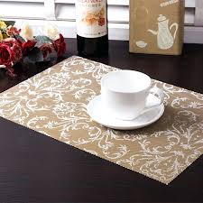 round table placemats awesome com set of 2 driftwood black tan wipeable wedge shaped along with 16