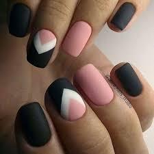 pink black and white nails Nail Art Pinterest
