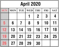 Free April 2020 Printable Calendar Templates Pdf Excel