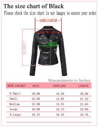 Leather Jacket Size Chart Tanming Womens Faux Leather Moto Biker Short Coat Jacket