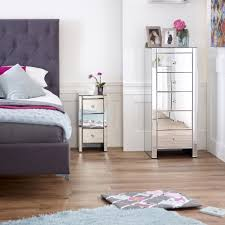 Slimline Bedroom Furniture Venetian Mirrored 3 Drawer Slim Narrow Bedside
