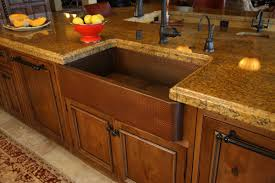 image of copper farmhouse sink marble