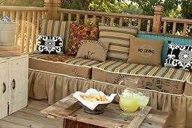 deck furniture made from palettes then skirted with burlap fabric by nayara volpe burlap furniture