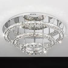 eglo lighting toneria 39002 led round flush ceiling light with clear crystals chrome