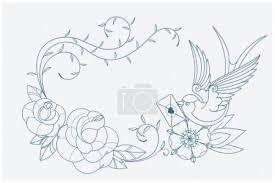 Vektorová Grafika Láska Téma Zbarvení Stránky Staré školy Tetování