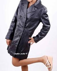 womens double ted leather trench coat roll over to zoom in to enlarge