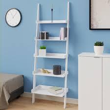 Badregal Leiterregal Weiß 180cm Holz 5 Etagen Modern Bücherregal Standregal Stufenregal Wandregal Treppenregal