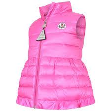 Moncler Baby Girls Pink Ruffle Cherame Gilet