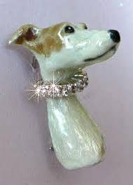 italian greyhound head facing forward with enamel artwork and diamond collar