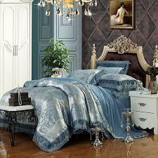 boho style pattern bedding sets blue silver linens silk cotton jacquard 4 6pcs queen