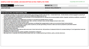 chef de cuisine job description duties what is the job description of a chef